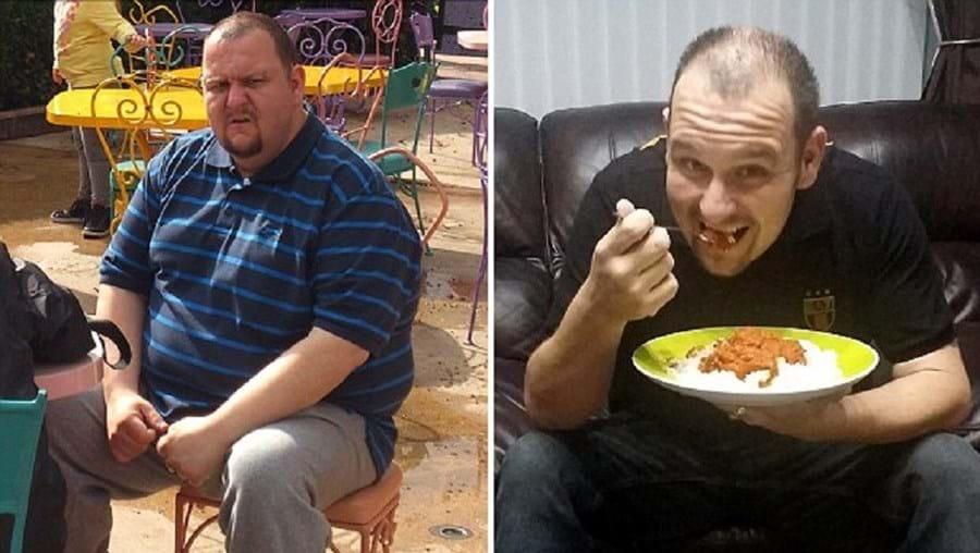 Mike Snell antes da dieta e durante um dos seus pequenos almoços