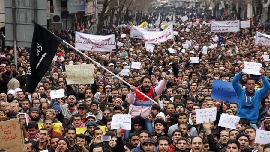 Manifestação na Jordânia contra a publicação da caricatura de Maomé