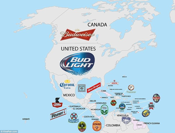 Nos EUA, a Bud Light é a cerveja mais popular, ao passo que no Canadá é a Budweiser e no México a Corona é rainha