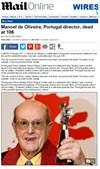O britânico 'Daily Mail' também destacou a morte de Manoel de Oliveira