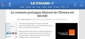 O francês 'Le Figaro' também destacou a morte do realizador português