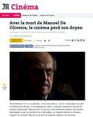 O jornal francês 'Le Monde' diz que com a morte de Manoel de Oliveira, o cinema 'perdeu o seu deão'