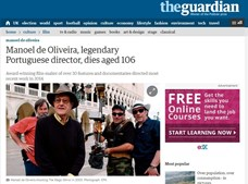 O jornal 'The Guardian' referiu-se a Manoel de Oliveira como 'lendário'