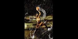 Imagem de um atleta de basquetebol criada pelo artista José Paulo Reis
