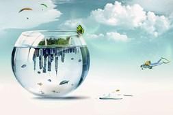 Esta imagem de uma cidade dentro do aquário é, para o artista, 'a natureza em confronto com as cidades'