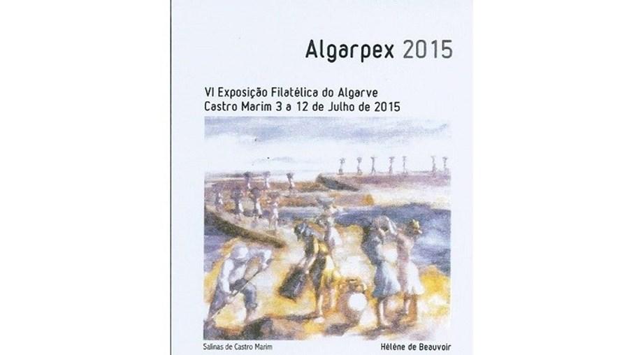 Selo personalizado comemorativo da'Algarpex-2015' que reproduz as Salinas de Castro Marim, quadro da pintora Hélène de Beauvoir