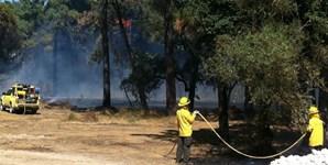 Os bombeiros combatem as chamas em Casas de Azeitão
