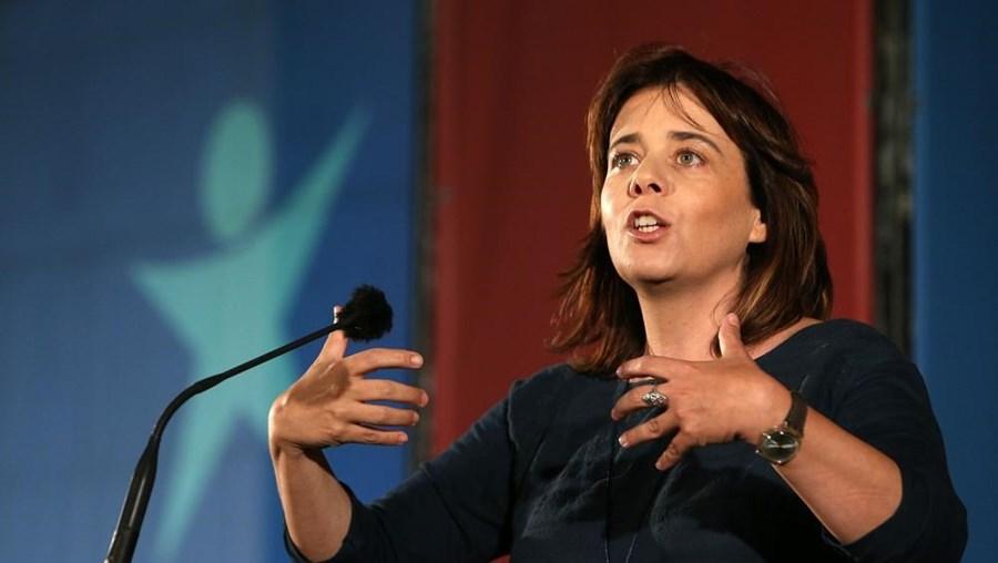 Catarina Martins num discurso do BE.