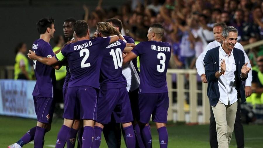 Festejos de Fiorentina após o jogo