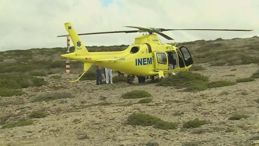 Helicóptero do INEM esteve no local