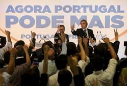 Marco António Costa (PSD) e Nuno Melo (CDS-PP) na sede de campanha da coligação Portugal à Frente, no Hotel Sana, em Lisboa