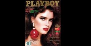 Dezembro de 1986: Brooke Shields, estrela de 'A Lagoa Azul (1980), celebrou o 21.º aniversário com a Playboy, fazendo capa da revista e antecipando o Natal para os fãs