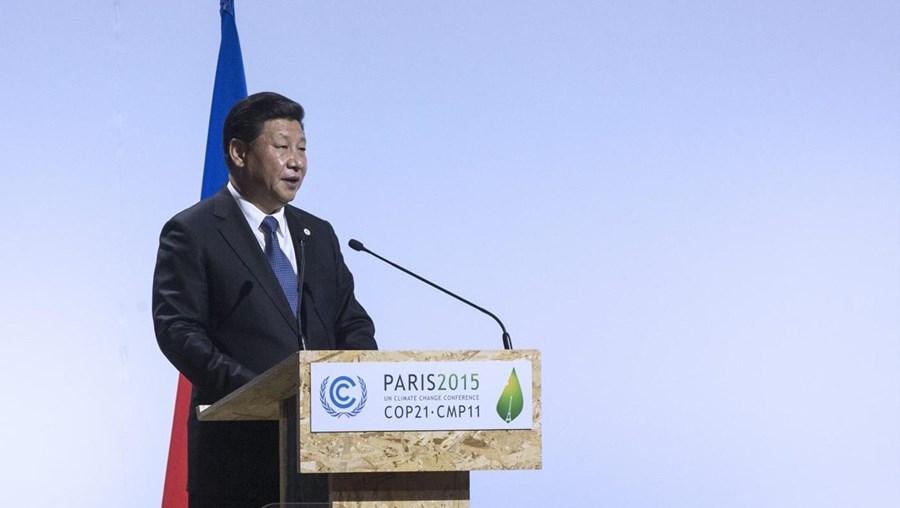 Xi Jinping falava na Conferência das Nações Unidas sobre Alterações Climáticas (COP21)