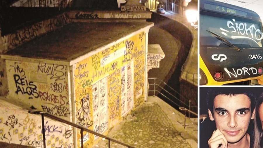 À esquerda, o local de onde foram lançadas as pedras para a estação. A alcunha de João Dias, 'Nord', foi grafitada num comboio