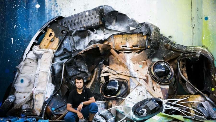 Bordalo II destacou-se ao criar em paredes obras de arte a três dimensões a partir desperdícios
