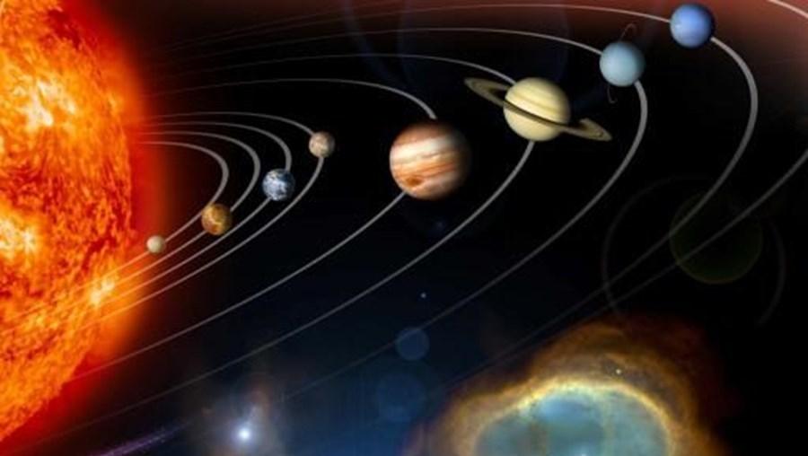 Aspecto dos planetas em volta do sol