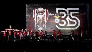 Benfica faz a festa do 'tri' no Marquês