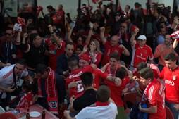 Adeptos do Benfica fazem a festa do 35º campeonato nacional em Leiria
