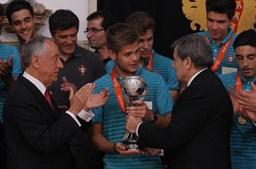 O presidente da Federação Portuguesa de Futebol (FPF), Fernando Gomes, liderou a comitiva portuguesa que se deslocou a Belém