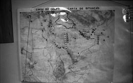 Mapa da zona de conflito no Golfo Pérsico com Iraque e Arábia Saudita