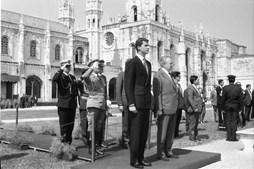 O presidente Mário Soares recebe o herdeiro da coroa espanhola, Príncipe Felipe, em 1991