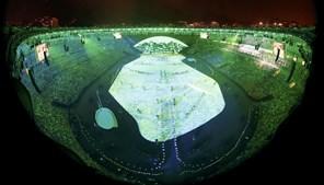 Estádio foi totalmente usado como tela de projeção