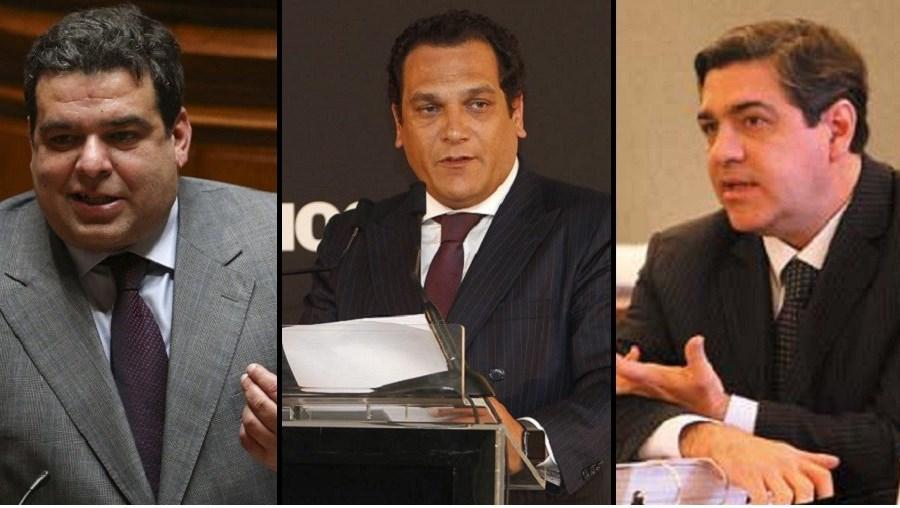 Os secretários de Estado Fernando Rocha Andrade, João Vasconcelos e Jorge Oliveira