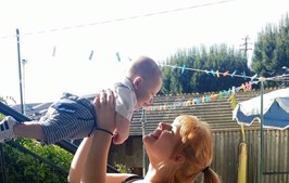 Bernardina com o filho