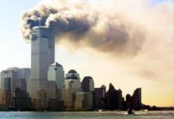 O fogo nas torres visto à distância