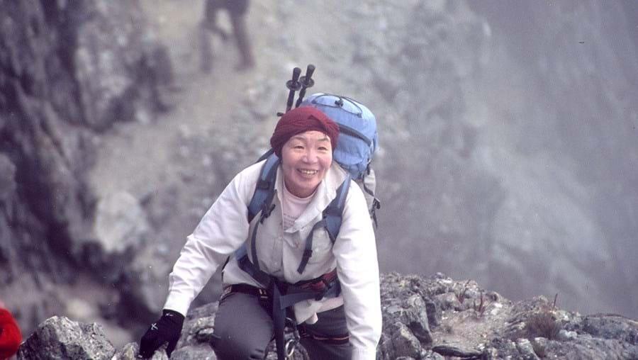 Junko Tabei a subir uma montanha na Venezuela, em 2008