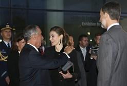 Marcelo cumprimenta Letizia e Felipe VI