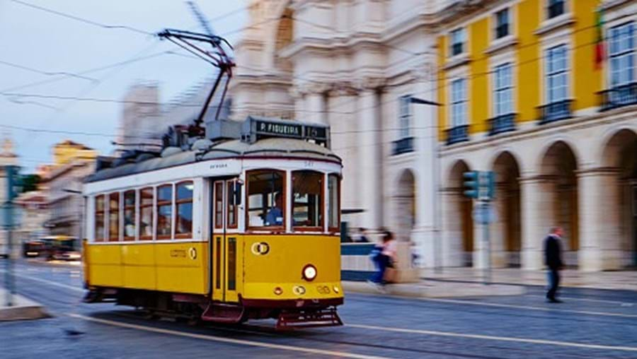 The yellow tram is one of the trade marks of Lisbon