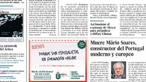Jornais espanhóis destacam morte de Mário Soares