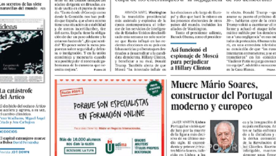 Capa do jornal El Pais