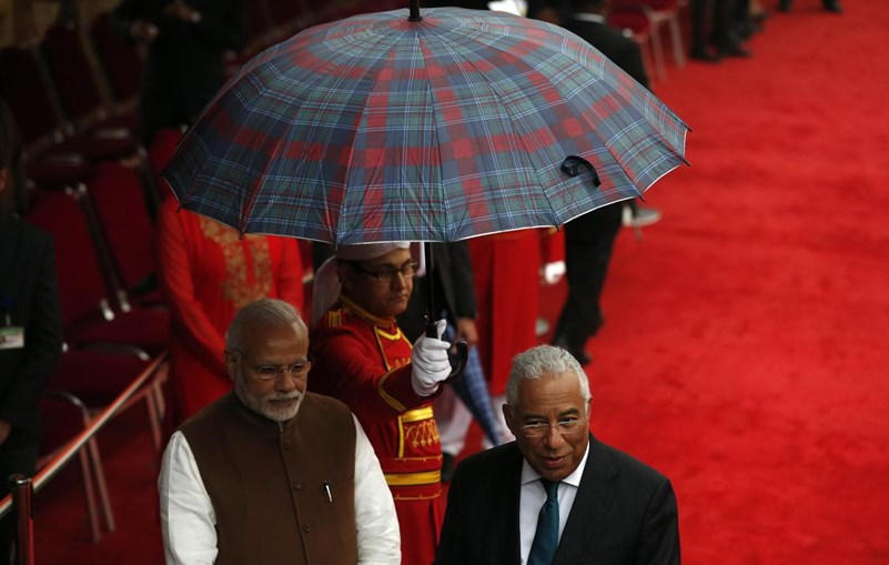 O primeiro-ministro, António Costa, e o seu homólogo indiano, Narenda Modi, durante a sua visita de Estado à Índia