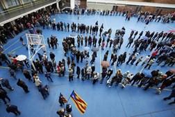 Aspeto de uma das salas onde decorreu o referendo, em Barcelona