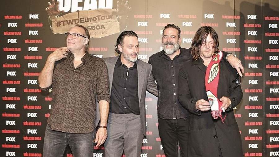 Greg Nicotero, Andrew Lincoln, Jeffrey Dean Morgan e Norman Reedus ontem em Lisboa