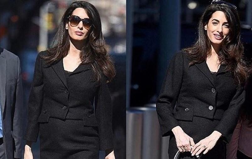 Amal Clooney exibe barriga