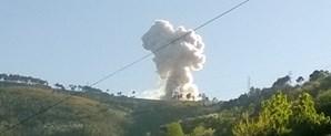 Imagem do resultado da explosão, vista à distância