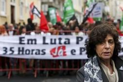 Ana Avoila, num protesto da Federação Nacional dos Sindicatos dos Trabalhadores em Funções Públicas e Sociais, em abril de 2016
