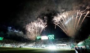 Fogo de artifício na homenagem às vítimas de Chapecó