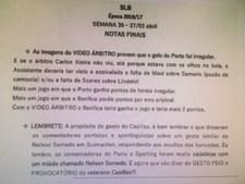 Documento onde estão estipuladas as supostas diretrizes para os comentadores do Benfica