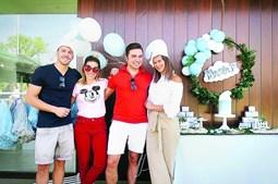 Cláudia Vieira e Pedro Teixeira estiveram juntos na festa da filha no fim de semana