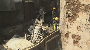Aeronave ficou completamente destruída na queda, seguida de incêndio