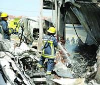 Destroços da aeronave ficaram espalhados por todo o parque de mercadorias do Lidl de Tires