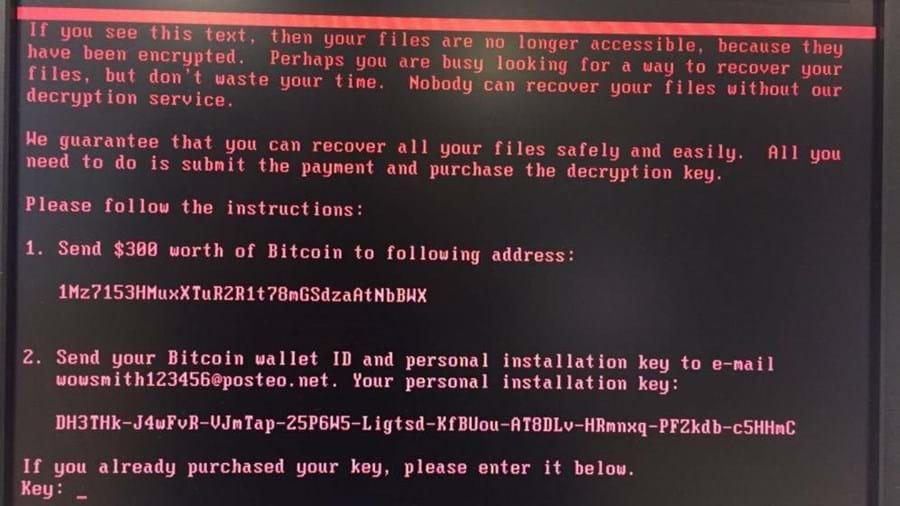 Exigência de pagamento de resgate surge nos ecrãs dos computadores infetados