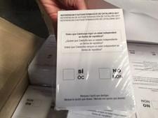 Boletins de voto para o referendo, encontrados na Catalunha