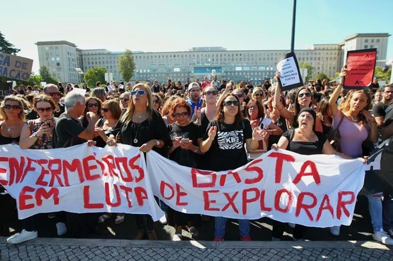 Enfermeiros em protesto