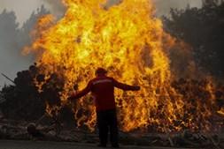 Bombeiros combatem chamas na aldeia de Moinho, no incêndio da Lousã