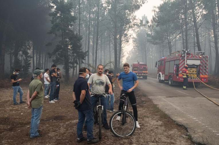 Populares e bombeiros juntos no combate às chamas no Pinhal de Leiria